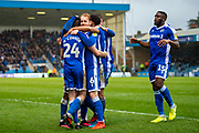 Gillingham FC defender Thomas O'Connor  (24) scores a goal from a corner (1-1) and celebrates with team mates during the EFL Sky Bet League 1 match between Gillingham and Doncaster Rovers at the MEMS Priestfield Stadium, Gillingham, England on 15 February 2020.