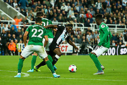 Brighton & Hove Albion defenders crowd out Allan Saint-Maximin (#10) of Newcastle United during the Premier League match between Newcastle United and Brighton and Hove Albion at St. James's Park, Newcastle, England on 21 September 2019.