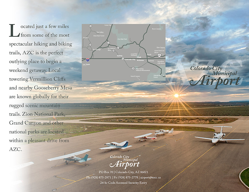 Photo shoot for Colorado City Municipal Airport in Colorado City, Arizona. Located on the Arizona Strip. Image of airport with airplanes, runway and sunset in the background.