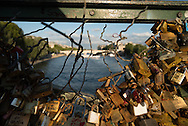 France. Paris.1st district. Love locks on the pont des Arts on the Seine river / la passerelle des arts sur la Seine, cadenas d amour.