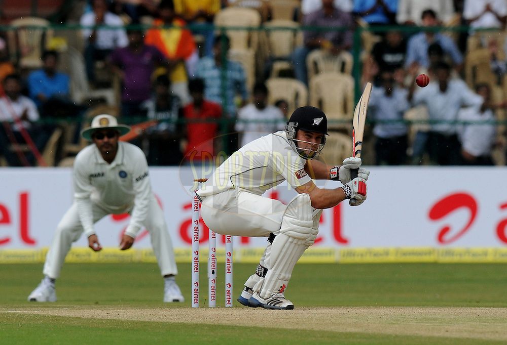 Daniel Flynn of New Zealand bats during day three of the second test match between India and New Zealand held at the M. Chinnaswamy Stadium, Bengaluru on the 2nd September 2012..Photo by Pal Pillai/BCCI/SPORTZPICS.