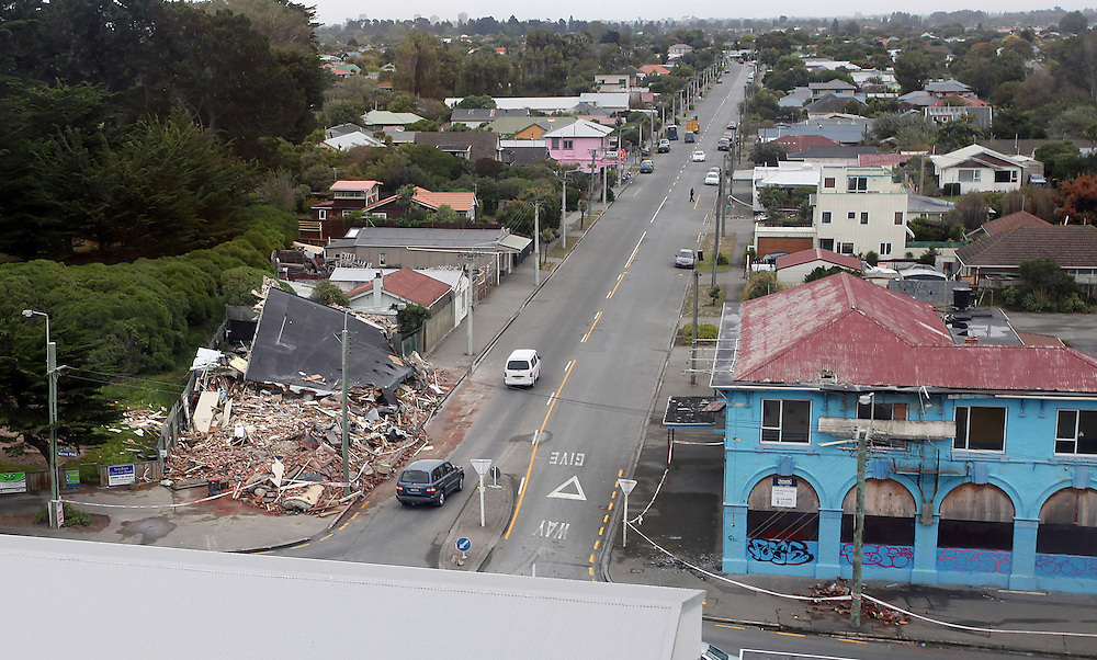 Damage in New Brighton following the 6.3 earthquake, Christchurch, New Zealand, Friday, February 25, 2011. Credit:SNPA/Pam Johnson