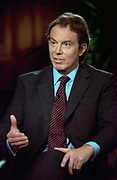 British Prime Minister Tony Blair discusses the ongoing conflict in Kosovo during a pre-tapeing of NBC's Meet the Press April 24, 1999 in Washington, DC.