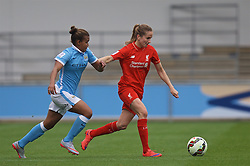 MANCHESTER, ENGLAND - Sunday, August 30, 2015: Manchester City's Nikita Parris and Liverpool's Lucy Staniforth during the League Cup Group 2 match at the Academy Stadium. (Pic by Paul Currie/Propaganda)