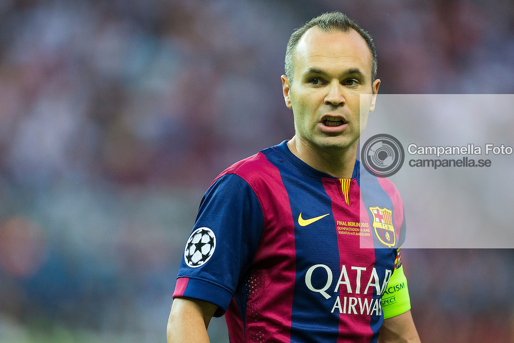 BERLIN, GERMANY - June 6th 2015:<br /> <br /> Barcelona 8 Andr&eacute;s Iniesta during the UEFA Champions League Final between Juventus FC and FC Barcelona at Olympiastadion in Berlin, Germany on June 6th 2015. (Photo: Michael Campanella)