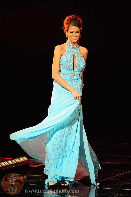 "November 22, 2009; Rancho Mirage, CA, USA; Miss Del Mar USA Kristina Johnson showcases her evening gown during the top 10 third round of the Miss California USA 2010 Pageant at ""The Show"" at the Agua Caliente Resort & Spa. Mandatory Credit: Kyle Terada-Terada Photo"