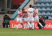 Hamilton&rsquo;s Carlton Morris is congratulated after scoring - Dundee v Hamilton Academical, Ladbrokes Scottish Premiership at Dens Park<br /> <br /> <br />  - &copy; David Young - www.davidyoungphoto.co.uk - email: davidyoungphoto@gmail.com