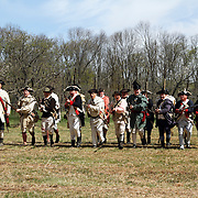 A re-enactment of the American Revolution's Continental Army making a bayonet charge in Jockey Hollow National Park, New Jersey, USA. Parts of the Continental Army wintered in Jockey Hollow in 1779-1782.<br />