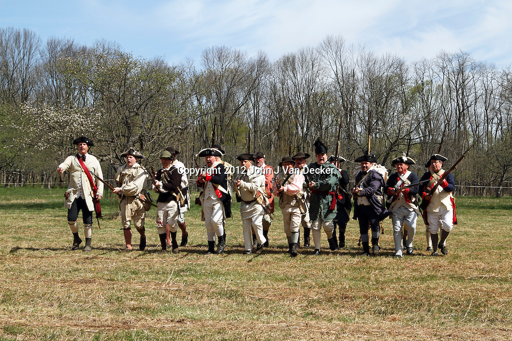 A re-enactment of the American Revolution's Continental Army making a bayonet charge in Jockey Hollow National Park, New Jersey, USA. Parts of the Continental Army wintered in Jockey Hollow in 1779-1782.<br /> <br /> For Editorial Purposes.