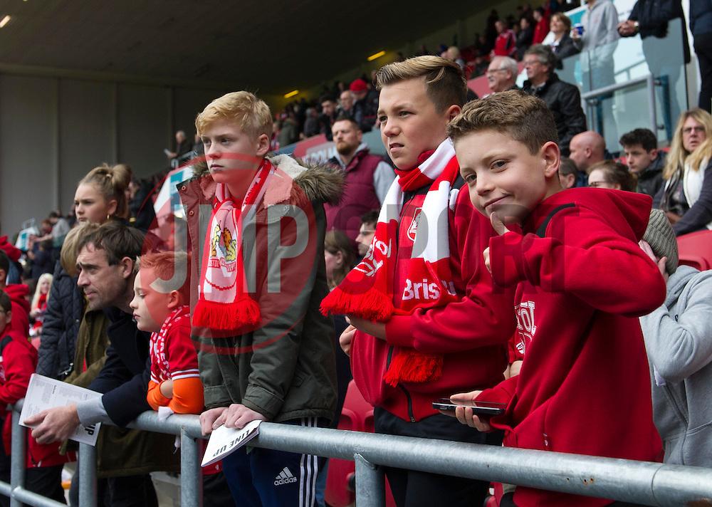 Fans watch as Bristol City players warm-up at Ashton Gate - Mandatory by-line: Paul Knight/JMP - 22/10/2016 - FOOTBALL - Ashton Gate Stadium - Bristol, England - Bristol City v Blackburn Rovers - Sky Bet Championship
