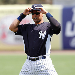 March 2, 2011; Tampa, FL, USA;New York Yankees shortstop Derek Jeter (2) before a spring training exhibition game against the Houston Astros at George M. Steinbrenner Field.  Mandatory Credit: Derick E. Hingle