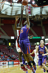 01 January 2012:  Candace Sykes challenges a shot by Briyana Blair during an NCAA women's basketball game between the Evansville Purple Aces and the Illinois Sate Redbirds at Redbird Arena in Normal IL