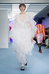 © Licensed to London News Pictures. 14/02/2020. London, UK.  London Fashion Week Autumn Winter 2020 Ashley Williams runway show - model on the catwalk.  Photo credit : Richard Isaac/LNP