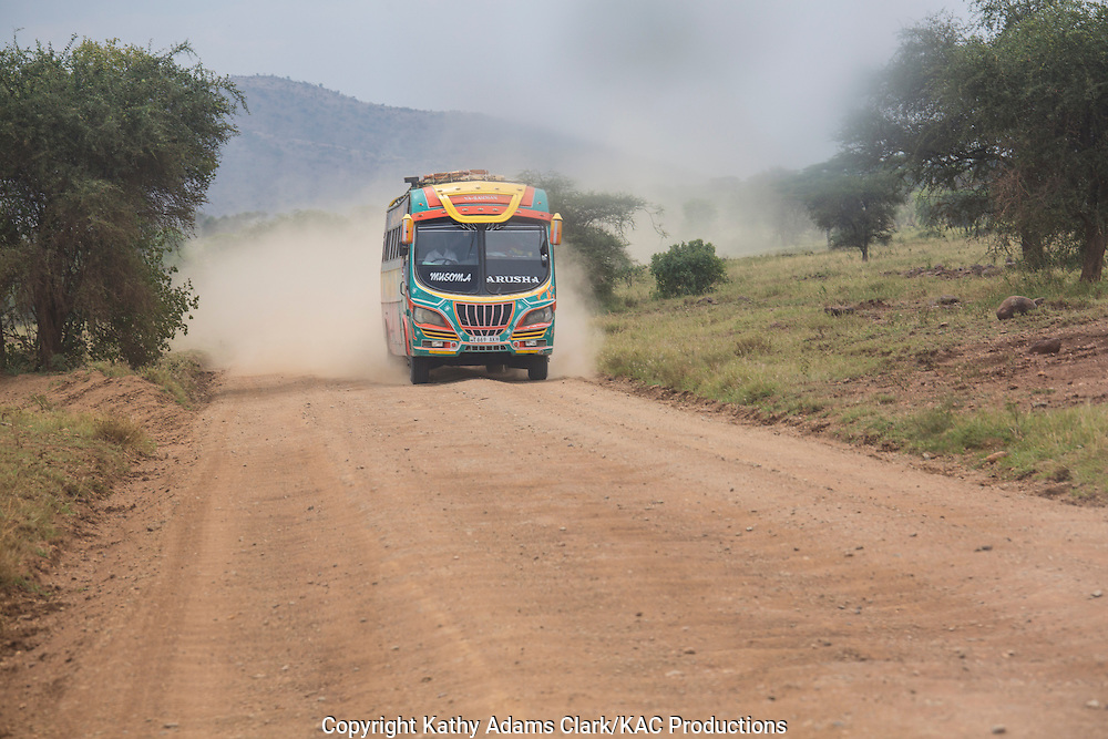 Bus; local transportation; dirt road, Serengeti National Park; United Republic of Tanzania