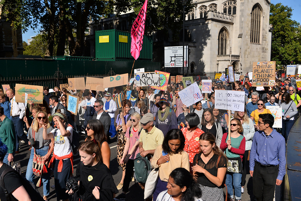 © Licensed to London News Pictures. 20/09/2019. London, UK. Climate Change protesters take part in international day of protest in Westminster calling for goverment to tackle climate change a priority.  Photo credit: Ray Tang/LNP