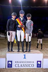 OSTERMANN Henrike (GER), BYTOMSKI Laura (GER), JUETTNER Luzie (GER)<br /> Siegerehrung<br /> Finale HGW-Bundesnachwuchschampionat der Springreiter <br /> gefördert durch die Horst-Gebers-Stiftung <br /> In Memoriam Debby Winkler<br /> Stilspringen Kl. M*<br /> Nat. style jumping competition Kl. M*<br /> Braunschweig - Classico 2020<br /> 08. März 2020<br /> © www.sportfotos-lafrentz.de/Stefan Lafrentz