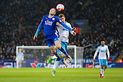 Leicester City forward Jamie Vardy (9)  flicks the ball on  during the Barclays Premier League match between Leicester City and Newcastle United at the King Power Stadium, Leicester, England on 14 March 2016. Photo by Simon Davies.