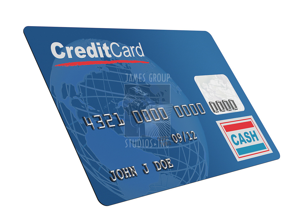 A close up of a bogus credit on white. Globe and credit card designed and renderd in studio.