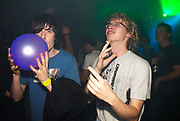 Two guys, one with a with a laughing gas balloon, Chew The Fat 9th Birthday, The End 2006