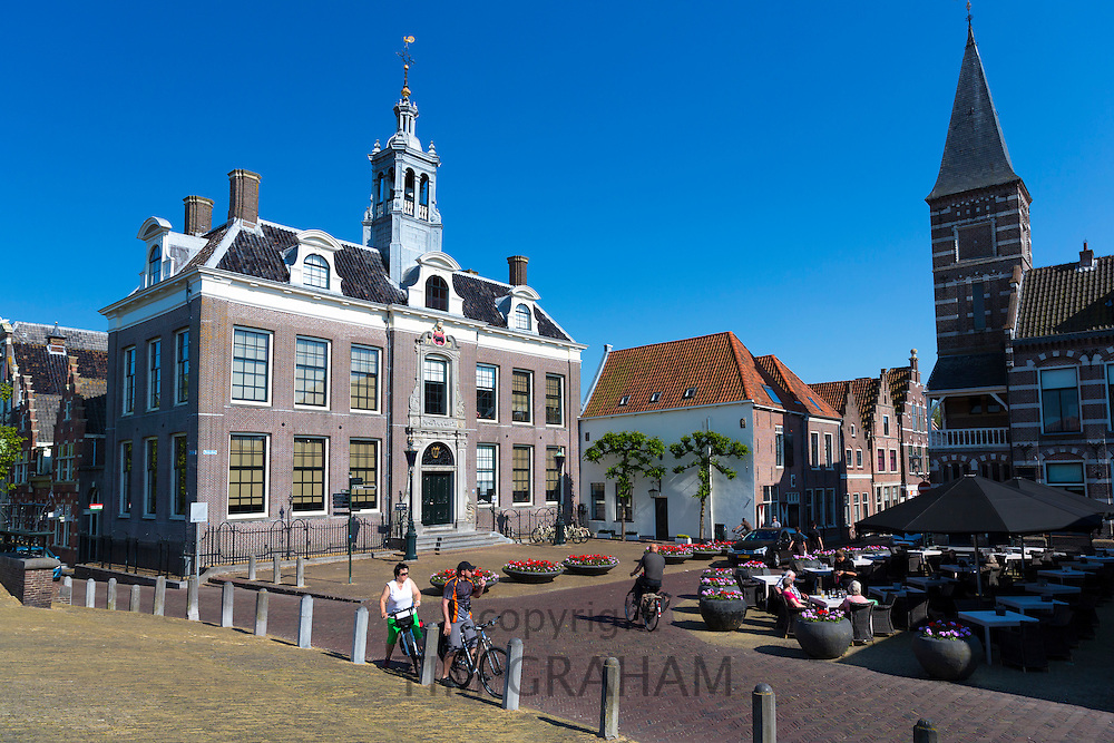 Cafe, Town Square and traditional architecture in Edam, The Netherlands