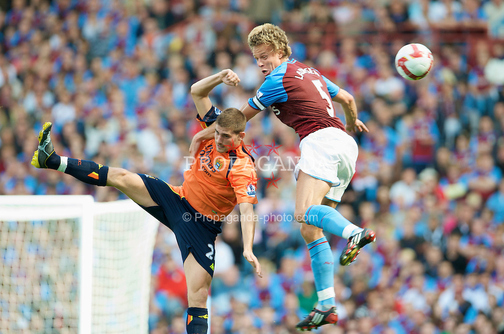 BIRMINGHAM, ENGLAND - Sunday, August 17, 2008: Aston Villa's Martin Laursen and Manchester City's Ched Evans during the Premiership match at Villa Park. (Photo by David Rawcliffe/Propaganda)