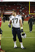 Los Angeles Chargers offensive guard Forrest Lamp (77) in action during the 2018 NFL preseason week 4 football game against the San Francisco 49ers on Thursday, Aug. 30, 2018 in Santa Clara, Calif. The Chargers won the game 23-21. (©Paul Anthony Spinelli)