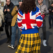 Union Jack Sweater and Yellow Plaid Skirt at Gucci FW2017