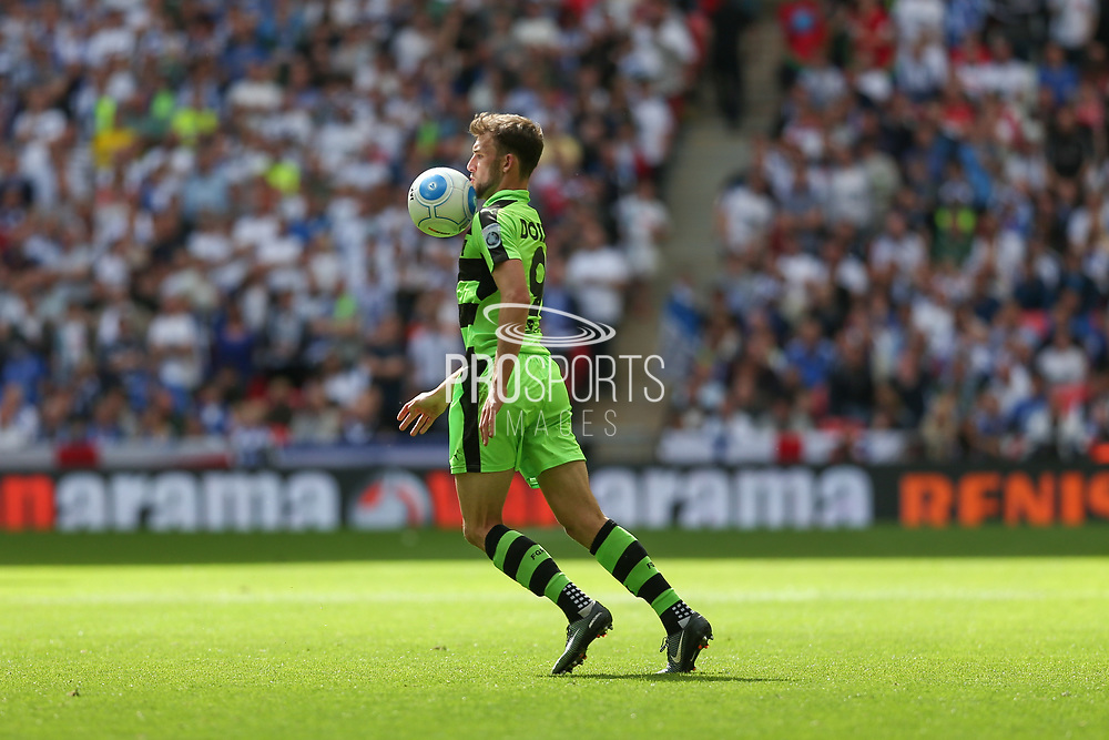 Forest Green Rovers Christian Doidge(9) controls the ball during the Vanarama National League Play Off Final match between Tranmere Rovers and Forest Green Rovers at Wembley Stadium, London, England on 14 May 2017. Photo by Shane Healey.