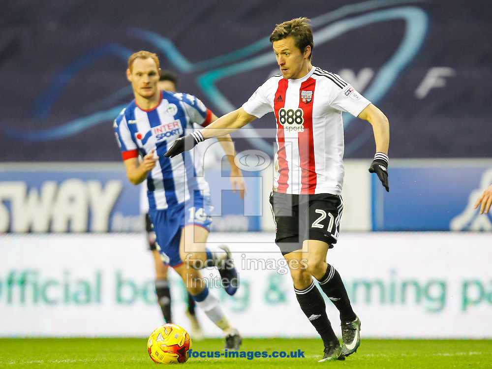 Lasse Vibe of Brentford during the Sky Bet Championship match between Wigan Athletic and Brentford at the DW Stadium, Wigan<br /> Picture by Mark D Fuller/Focus Images Ltd +44 7774 216216<br /> 21/01/2017