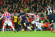 Derby County defender Scott Malone (46) and Stoke City defender Cuco Martina (23) during the EFL Sky Bet Championship match between Stoke City and Derby County at the Bet365 Stadium, Stoke-on-Trent, England on 28 November 2018.