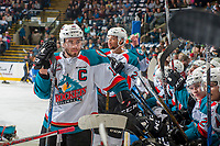 KELOWNA, CANADA - APRIL 25: Rodney Southam #17 of the Kelowna Rockets stands at the bench during a time out against the Seattle Thunderbirds on April 25, 2017 at Prospera Place in Kelowna, British Columbia, Canada.  (Photo by Marissa Baecker/Shoot the Breeze)  *** Local Caption ***