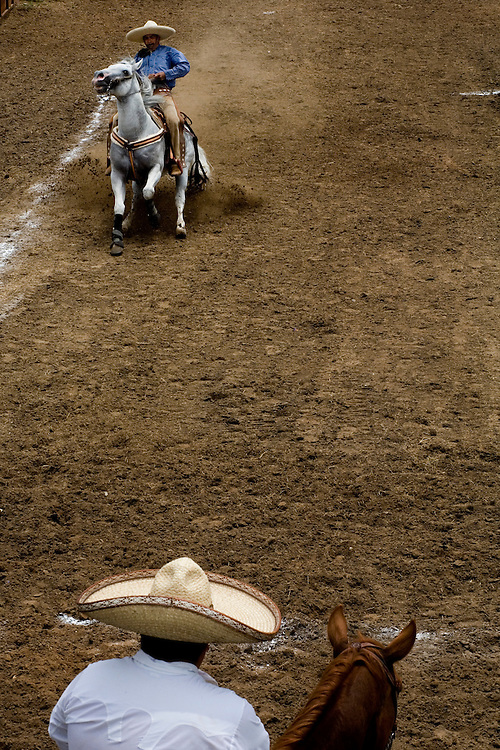 Julia Robinson photo.The Cala de Caballo demonstrates a charro's control over his horse.  From a full gallop a charro brings his horse to a sliding stop within the chalked boundaries.