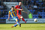 Keith Keane clears the ball during the EFL Sky Bet League 1 match between Shrewsbury Town and Rochdale at Greenhous Meadow, Shrewsbury, England on 8 April 2017. Photo by Daniel Youngs.