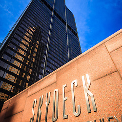 Picture of Skydeck sign on Willis Tower (Sears Tower). Willis Tower is the tallest building in Chicago and one of the tallest skyscrapers in the world.