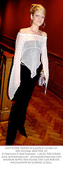 LADY ELOISE ANSON at a party in London on 30th October 2002.PEM 161