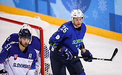 GANGNEUNG, SOUTH KOREA - FEBRUARY 17: Dominik Granak of Slovakia and Jan Urbas of Slovenia during the ice hockey match between Slovenia and Slovakia in  the Preliminary Round on day eight of the PyeongChang 2018 Winter Olympic Games at Kwangdong Hockey Centre on February 17, 2018 in Gangneung, South Korea. Photo by Kim Jong-man / Sportida