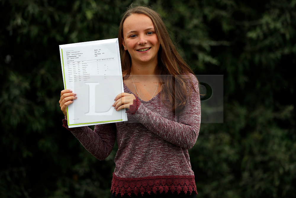 © Licensed to London News Pictures. 17/08/2017. LONDON, UK. <br /> FORMER VOICE OF PEPPA PIG RECEIVES A LEVEL RESULTS. Lady Eleanor Holles student Cecily Bloom, receives 3 A*'s in her A level results today and is going onto Cardiff University to study Medicine. Cecily is the former voice of children's television cartoon character Peppa Pig. <br /> Photo credit: LNP