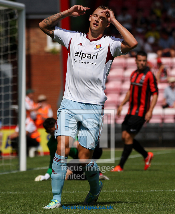 Picture by Tom Smith/Focus Images Ltd 07545141164<br /> 13/07/2013<br /> Jack Collison of West Ham United misses an opportunity during the Stephen Purches testimonial pre season friendly match at the Seward Stadium, Bournemouth.