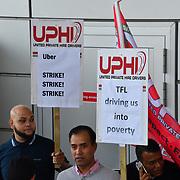 Uber driver strike! demand a minimun wages outside Uber offices, Aldgate Tower, London, UK. 9 October 2018.