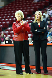 01 January 2012:  Stephanie Glance and Sheila Roux during an NCAA women's basketball game between the Evansville Purple Aces and the Illinois Sate Redbirds at Redbird Arena in Normal IL