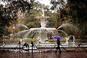 Forsyth fountain in Forsyth Park at Christmas time in Savannah, Georgia.