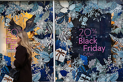 © Licensed to London News Pictures. 28/11/2019. London, UK. High street stores on Oxford Street advertising 'Black Friday' event, offering big discounts. Black Friday falls on 29 November 2019. Photo credit: Dinendra Haria/LNP