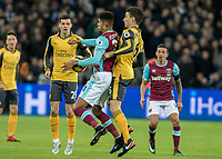 Football - 2016 / 2017 Premier League - West Ham United vs. Arsenal <br /> <br /> Ashley Fletcher of West Ham protects the ball from Laurent Koscielny of Arsenal at The London Stadium.<br /> <br /> COLORSPORT/DANIEL BEARHAM