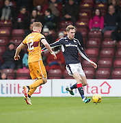 Dundee's Kevin Holt and Motherwell's Chris Cadden - Motherwell v Dundee in the Ladbrokes Scottish Premiership at Fir Park, Motherwell.Photo: David Young<br /> <br />  - © David Young - www.davidyoungphoto.co.uk - email: davidyoungphoto@gmail.com