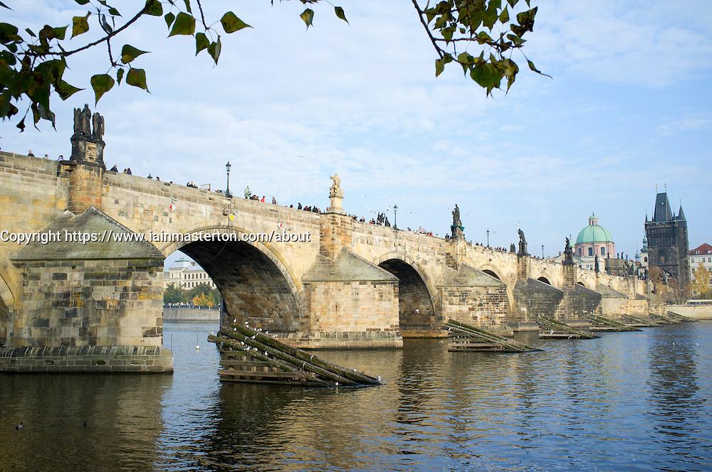Charles Bridge or Karluv Most and Vltava River in Prague in Czech Republic