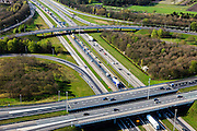 Nederland, Utrecht, Gemeente Eemnes, 01-05-2013; ontstaan van file op knooppunt Eemnes, kruising A1 (Amsterdam - Amersfoort) en A27 (Hilversum-Almere)<br /> File richting Amersfoort (onder in beeld).<br /> Development of a traffic jam on Junction Eemnes, A27/A1 (central Netherlands)<br /> luchtfoto (toeslag op standard tarieven)<br /> aerial photo (additional fee required)<br /> copyright foto/photo Siebe Swart