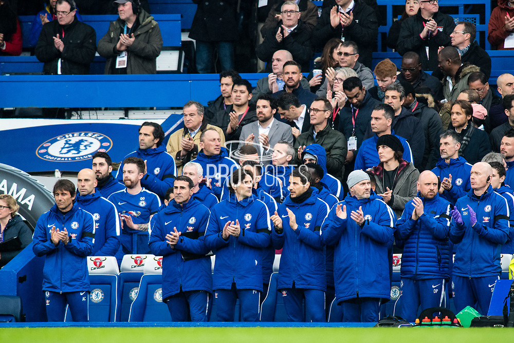 One minute of silence Chelsea manager Antonio Conte during the Premier League match between Chelsea and West Ham United at Stamford Bridge, London, England on 8 April 2018. Picture by Sebastian Frej.