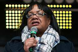 London, UK. 16th March, 2019. Diane Abbott, Shadow Home Secretary, addresses thousands of people on the March Against Racism demonstration on UN Anti-Racism Day against a background of increasing far-right activism around the world and a terror attack yesterday on two mosques in New Zealand by a far-right extremist which left 49 people dead and another 48 injured.