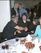 Toby Young and Lorenzo Agius, above Alan Yentob, Mick Jagger and Liam Gallagher. Vanity Fair Swinging London dinner. River Cafe, London. 20 October 1996.   © Copyright Photograph by Dafydd Jones 66 Stockwell Park Rd. London SW9 0DA Tel 020 7733 0108 www.dafjones.com