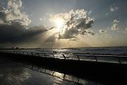 Sunset over the boardwalk. Namal Port